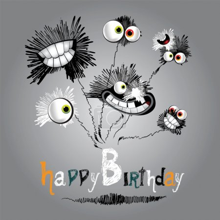 Illustration for Happy Birthday bouquet of flowers - Royalty Free Image
