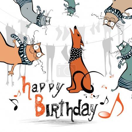 Happy birthday funny kids cat dog