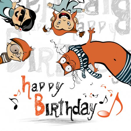Illustration for Happy birthday funny kids cat - Royalty Free Image