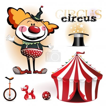 Illustration for Illustration of a circus tent, clowns - Royalty Free Image