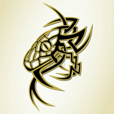 Illustration pour Serpent de style tatouage. Créature stylisée. Ensemble vectoriel - image libre de droit