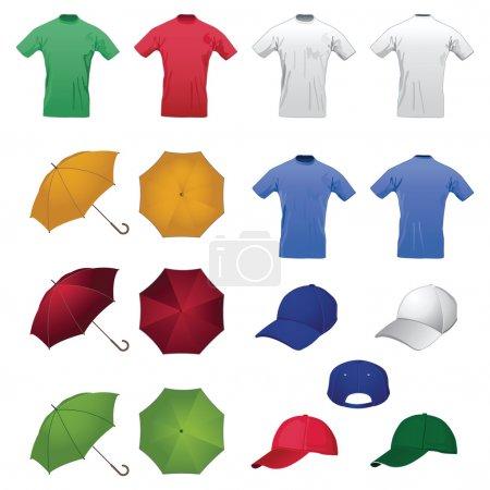 Illustration pour Set T-shirts, tasses, casquettes, parapluies pour la mise en page publicitaire - image libre de droit