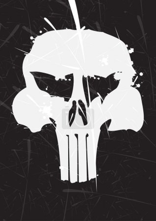 Gray skull icon on black background...