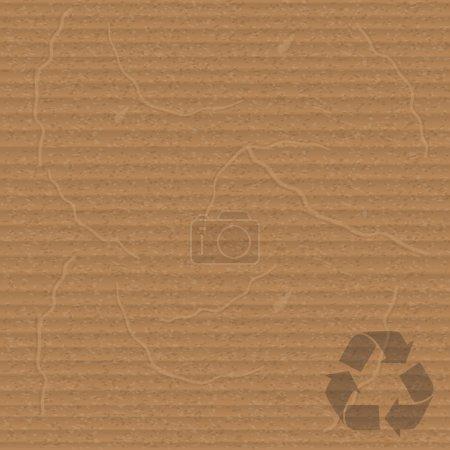 Illustration pour Feuille de carton avec panneau de recyclage - image libre de droit