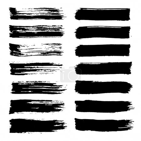 Vector set of grunge brush strokes. Black vector brush strokes collection. Black paint spots vector set