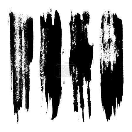 Vector set of grunge brush strokes. Black vector b...