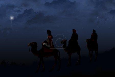 Photo pour Trois rois mages à dos de chameau suivant une étoile brillante. - image libre de droit