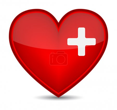 Illustration for First aid medical sign on red heart shape. Vector illustration - Royalty Free Image