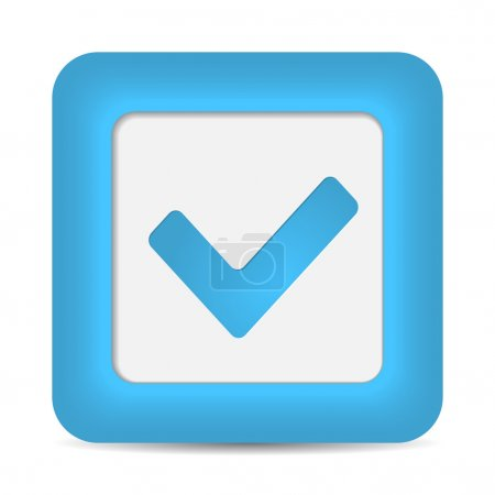 Blue glossy web button with check mark sign.