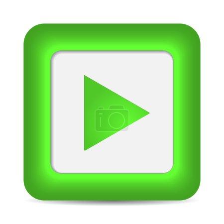 Illustration pour Jouer icône sur le bouton vert brillant. illustration vectorielle - image libre de droit