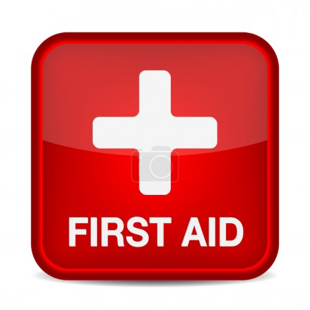 Illustration for First aid medical button sign isolated on white. Vector illustration - Royalty Free Image