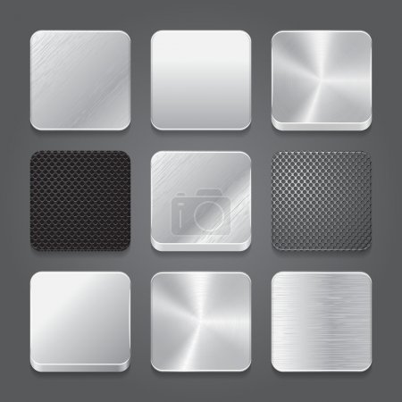 App icons background set. Metal button icons.