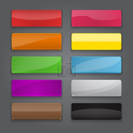 Colorful set of web banner buttons with different gloss reflecti