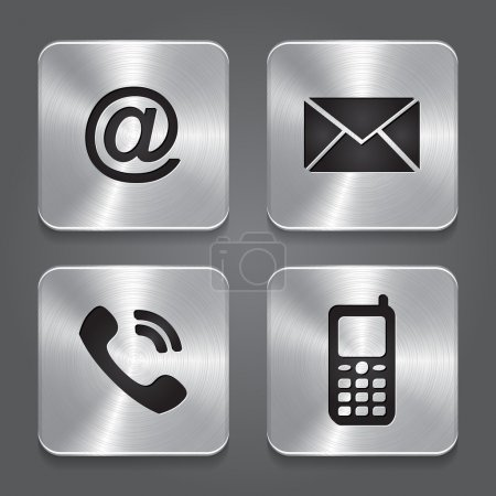 Illustration for Metal contact buttons - set icons. Vector illustration - Royalty Free Image