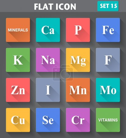 Minerals (Vitamins) Icons set in flat style with long shadows.