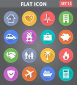 Insurance Icons set in flat style with long shadows