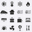 Heating and Cooling Icons. Vector...