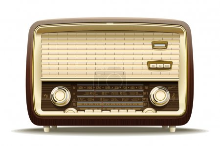 Realistic illustration of an old radio receiver of...