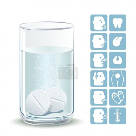 Illustration for Illustration painkillers soluble tablets with icons ailments - Royalty Free Image