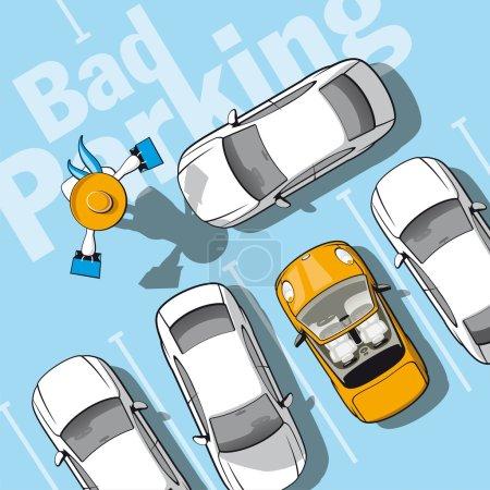 Illustration pour Illustration frustré propriétaire de voiture qui verrouillé alors qu'elle allait faire du shopping - image libre de droit