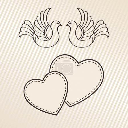 Illustration for Wedding announcement with doves, vector - Royalty Free Image