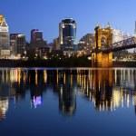 Image of Cincinnati and John A. Roebling Suspensio...
