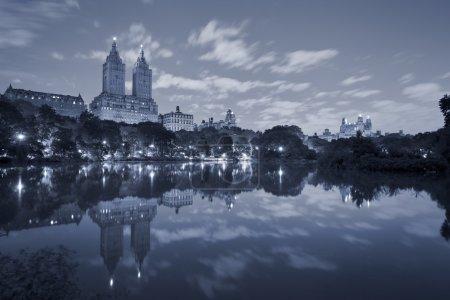 Photo pour Aux tons de l'image de la central park à manhattan pendant la nuit. - image libre de droit