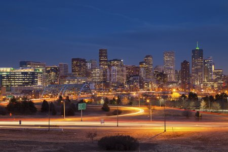 Photo for Image of Denver Skyline and busy highway in the foreground. - Royalty Free Image