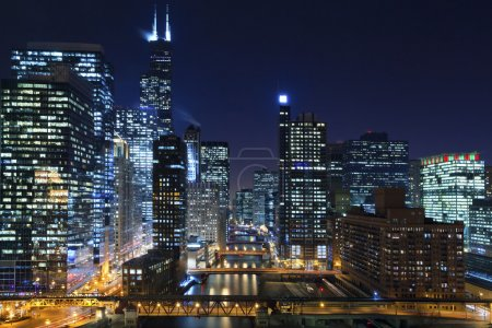 Photo for Image of Chicago downtown and Chicago River with bridges at night. - Royalty Free Image