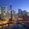 Image of Chicago downtown and Chicago River with b...