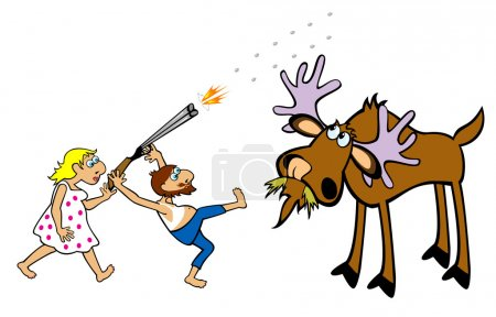 Illustration for Crazy hunter hunting moose cartoon illustration isolated on white background - Royalty Free Image