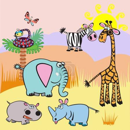 Kinder illustrieren mit afrikanischen Tieren