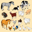 Set of farm animals,isolated vector pictures...