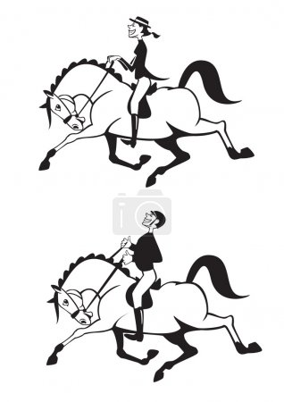 Cartoon man and woman horse riders black and white