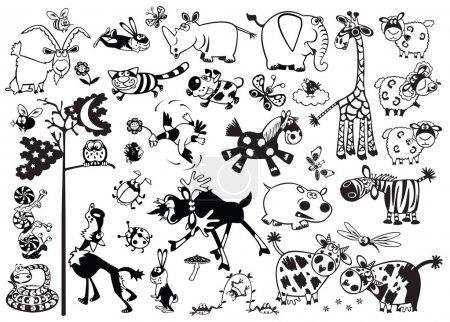 Photo pour Grand ensemble avec des animaux de dessin animé mignons, des images en noir et blanc, des images vectorielles isolées sur fond blanc, illustration pour enfants pour les petits enfants - image libre de droit