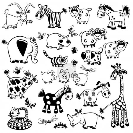 Illustration for Set with cartoon animals,vector ,black and white pictures ,children illustration,collection of images for babies and little kids - Royalty Free Image