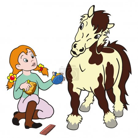 Girl grooming pony