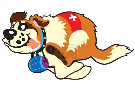 Illustration pour Saint bernard chien en cours d'exécution, dessin animé vecteur image isolée sur fond blanc, illustration enfants - image libre de droit