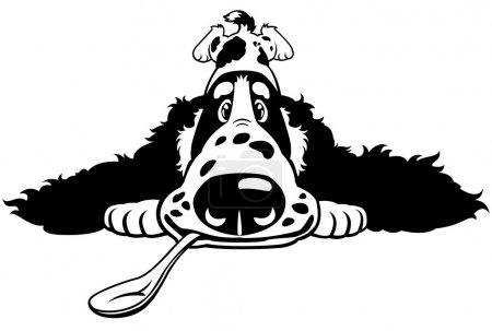 Cartoon spaniel black white