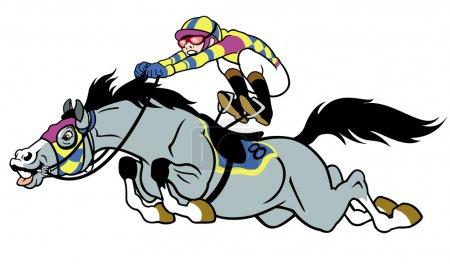 Racing horse with jockey