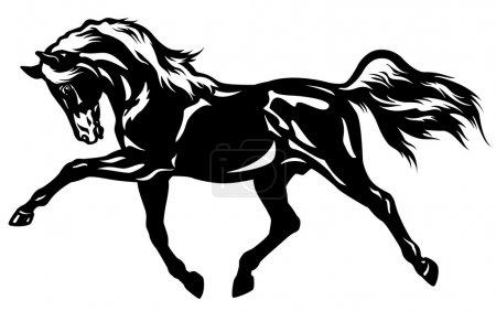 Illustration pour Cheval de trot, illustration de vue latérale en noir et blanc - image libre de droit
