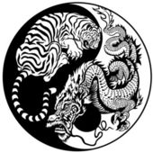 Dragon and tiger yin yang symbol of harmony and balance Black and white vector illustration