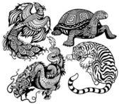 Tigerdragon phoenix and turtleBlack and white set of four feng shui celestial animals