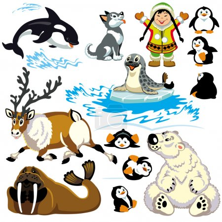 Illustration for Set with cartoon arctic animals isolated on white background.Pictures for little kids - Royalty Free Image