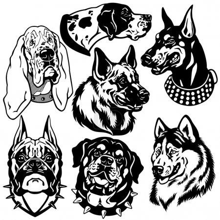 Illustration pour Set avec des icônes têtes de chiens, races différentes, images vectorielles en noir et blanc - image libre de droit