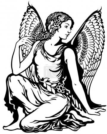 Illustration for Young woman with angel wings, virgo astrological zodiac sign, black and white tattoo image - Royalty Free Image
