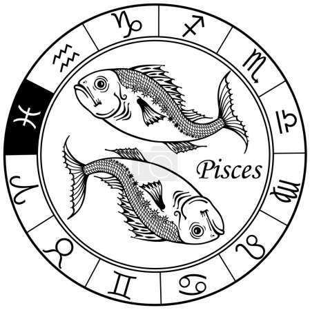Illustration for Pisces astrological zodiac sign, black and white image - Royalty Free Image