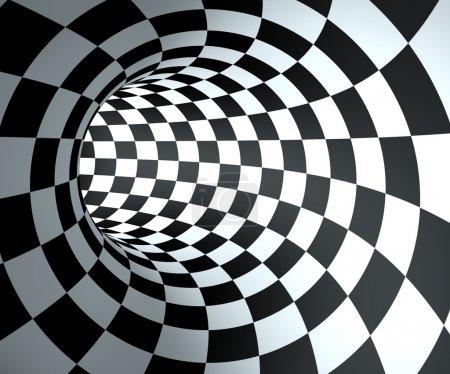 Photo pour Résumé rond fond de tunnel à carreaux . - image libre de droit