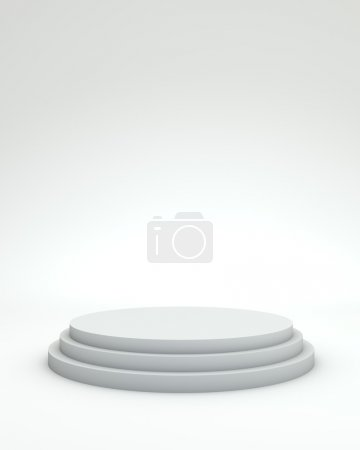 3 steps empty podium on white background.
