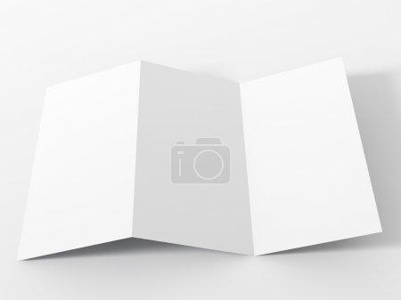 Blank white folding paper flyer.
